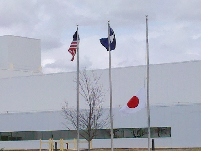 Japan's flag at half-staff
